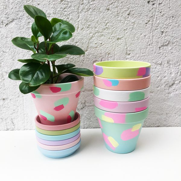 Hand painted colourful plant pot collection, painted in pastel shades, pastel home decor