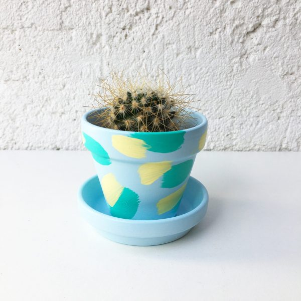 Turquoise blue and yellow plant pot, hand painted plant pot, small cactus planter
