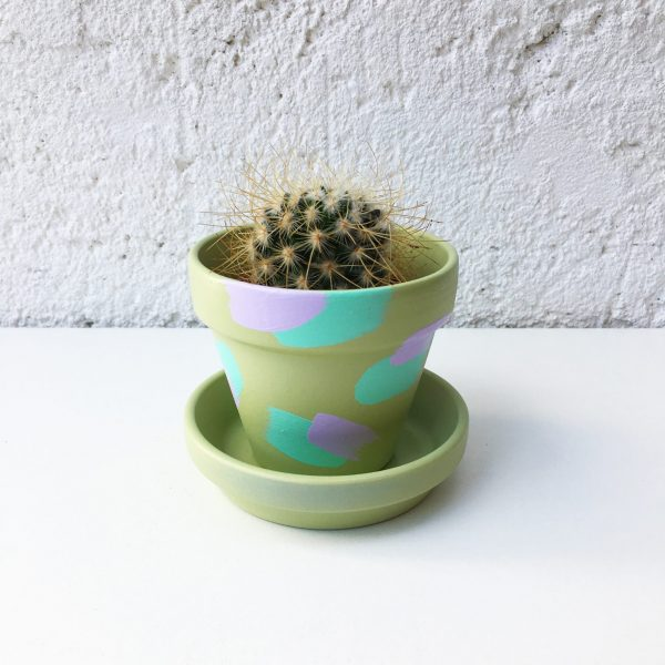 Green indoor plant pot, 8cm painted plant pot with purple and turquoise brush strokes