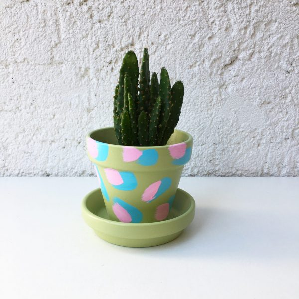 Hand painted green plant pot with blue and pink brush strokes