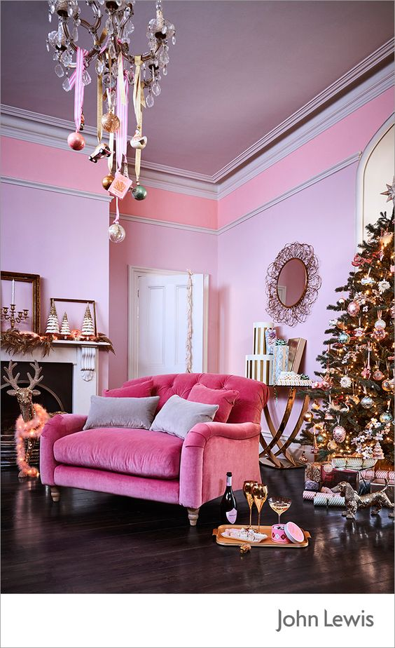 Pink interior with pink christmas tree and decor