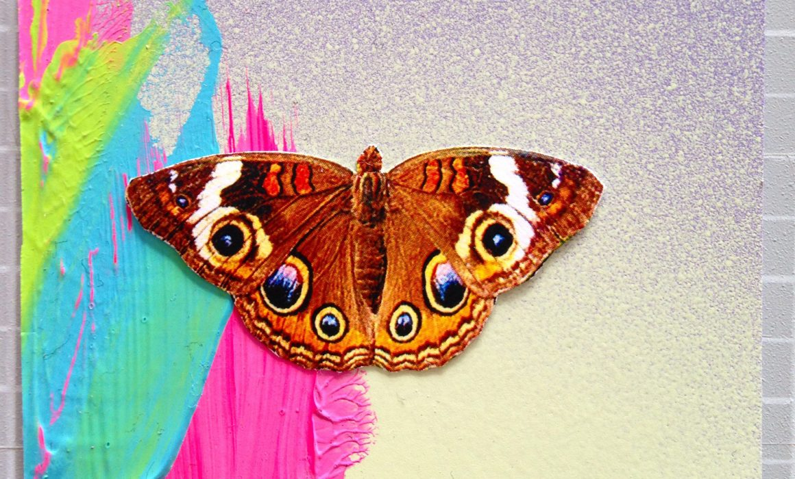 Colourful brushstrokes with butterfly collage, mixed media by Sara Hoque 2017
