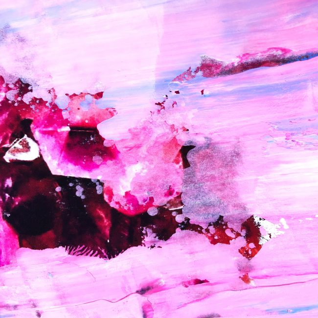 Pink abstract painting with magenta and pastel pinks by Sara Hoque 2017