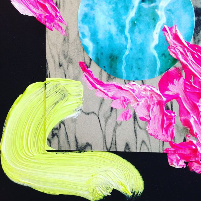 Mixed media paint and collage with fluorescent paint by Sara Hoque 2017