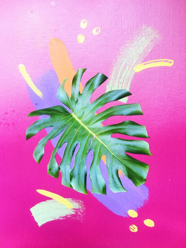 Pink gradient with monstera leaf collage and colourful brushstrokes by Sara Hoque 2019