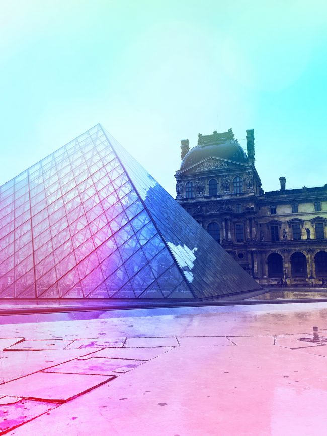 Pastel photograph of the Louvre in Paris by Sara Hoque 2018
