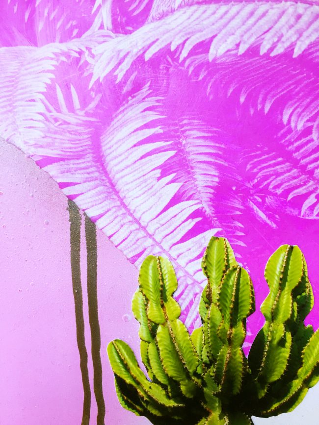 Pink artwork with cactus collage and paint drips by Sara Hoque 2019