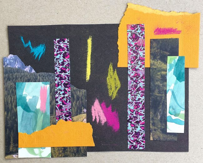 Mixed media collage with magenta, mustard and turquoise by Sara Hoque 2020