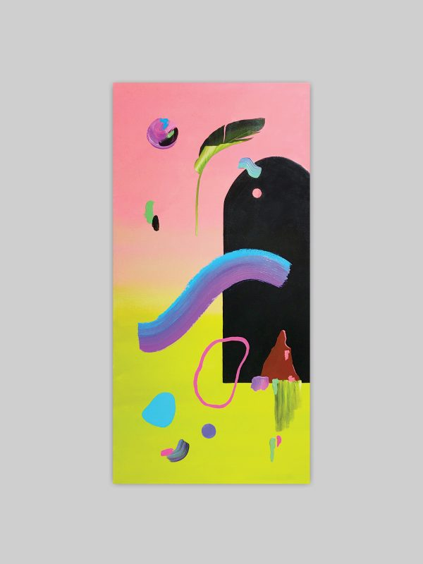 Abstract colourful painting featuring window and gradient by Sara Hoque