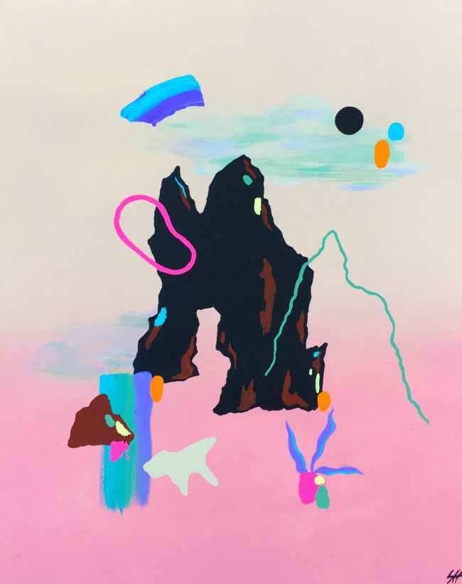 Colourful abstract mountain painting by Sara Hoque