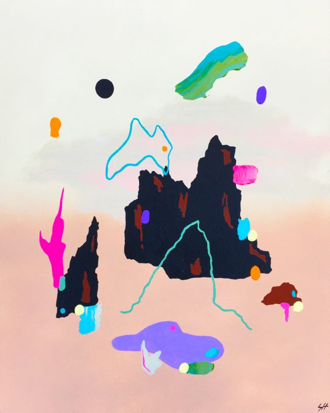Psychedelic abstract painting of a landscape by Sara Hoque