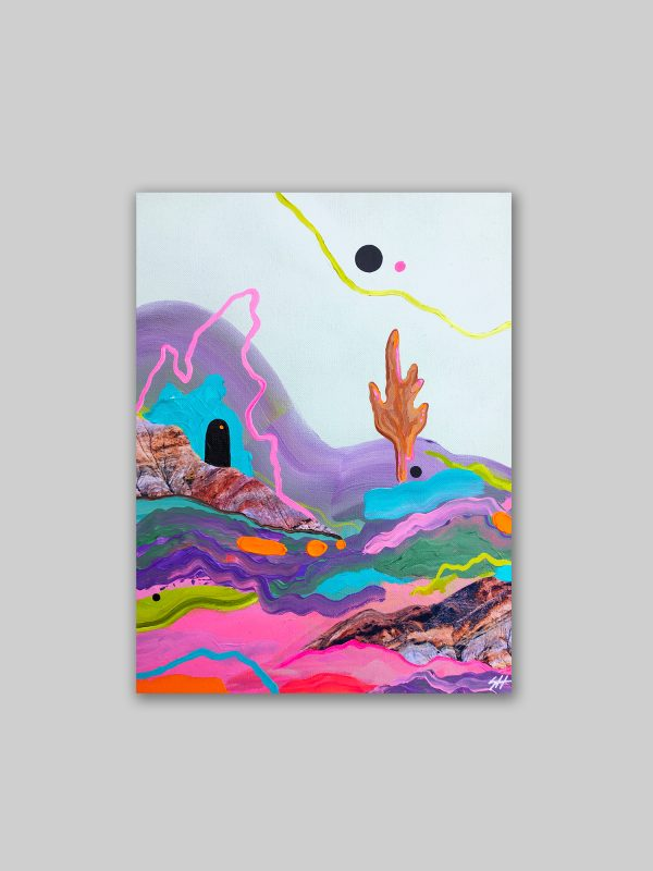 Painting of a colourful abstract landscape by Sara Hoque