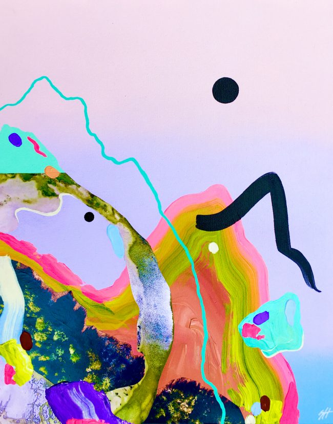 Neon colour abstract landscape with collage elements by Sara Hoque